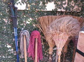 Even everyday objects take on the appearance of a still life painting. I see a story in the brooms and mops arranged (intentionally or not) so artistically.