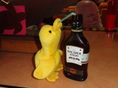 I finally hid his tobacco and papers, but I didn't bother to hide this bottle because I knew he couldn't reach it anyway. But he outsmarted me. Big Duck scorns in the dark background.