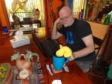 Now and then, his attention would be diverted by the need for a little liquid refreshment from Big Duck's cup, ...
