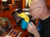 When Big Duck offered to edit his work, Little Duck insisted on staying annoyingly close as he read.