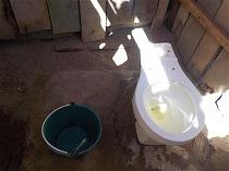 a flush toilet,