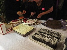 Some of the six cakes cooked by attendees. Yum.