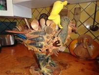 Takes a wild ride on the kitchen turkey.
