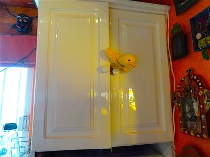 Little duck emerges from his handy little private condo in the kitchen cabinet..