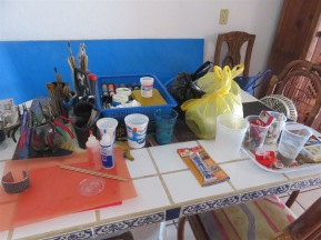 Art materials laid out.
