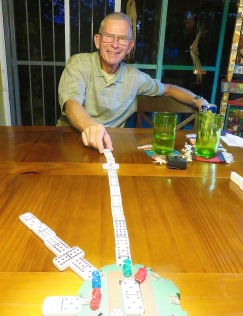 Frank proudly displays his game-winning Mexican train--winning the game before it started!