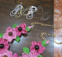 a necklace from Yolanda and unique earrings by sister Patti.