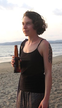 I was so intent on Emily Carson-Apstein's spoken word performances that I forgot to snap photos. This is one I took of her on the beach two nights ago.
