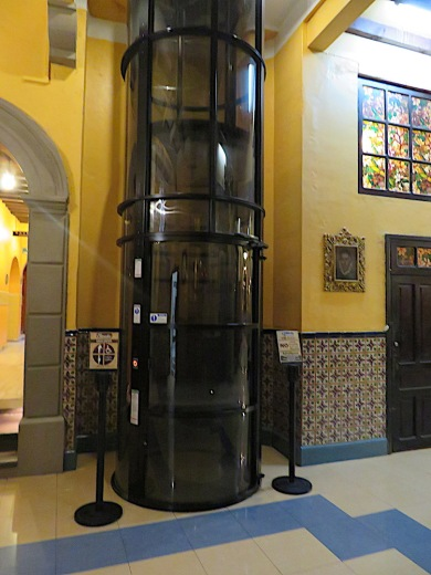 This was the elevator! To be used only by the aged and infirm. It took about 2 minutes to go up one floor. i must admit I took it twice..both times after an entire day of walking. I walked down.