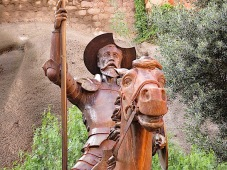 There is an entire museum and a huge yearly festival devoted to Don Quixote. There were dozens of sculptures of him all over town in every style imaginable. This one is rather straightforward.