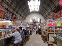 Food booths in the market.