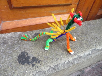 This alebrijes we didn't buy. I bought a mosquito, a spider, a fly, a bee and a perky ant sporting orange tennies! I'll do a blog on them later.