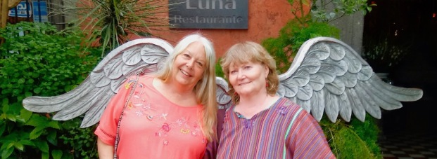 Debbie and Judy earn their wings in Tlaquepaque (photo by Jeff)