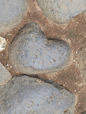 It is a good idea to look down while walking on cobblestones.