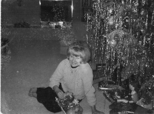Home for Xmas from college, complete with bubble hairdo.