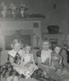 Rita and I, age 11, the year our mothers conspired to buy us our last little girl dolls.