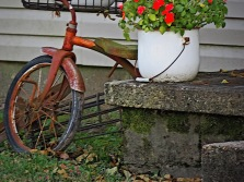 a bicycle and an old chamber pot,