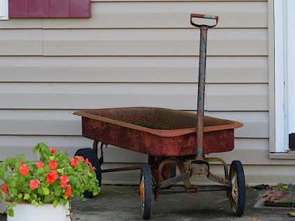 an almost red wagon,
