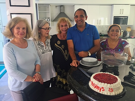 Ricardo and Esmerelda and Gloria are there to greet us with calories and a warm welcome