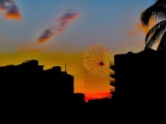 There are fireworks, a vivid sunset,