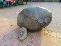 This meteorite found in the mountains above town now resides in the town plaza.