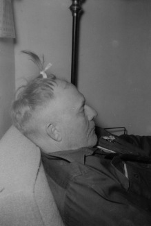 I gave my dad this exotic hairdo while he was sleeping, then left the room. Before I could get back, he awakened, put on his hat and went to Mack's Cafe to meet his cronies for coffee. When he got there, he took off his hat and gave everyone a big surprise! Most of all himself.