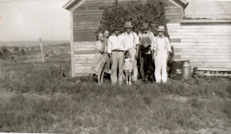 My grandmother's sister Susie, My grandmother Jane Boersma Dykstra,Susie's son Louie Luken, My dad Ben Dykstra, Unknown, my grandfather Walter Dykstra, and in front my sister Betty Jo. Approx 1940 or 41