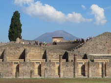 Pompeii forum with Vesuvius in the background.