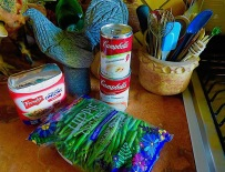 Assembling the ingredients for green bean casserole...not as easy in Mexico! No waterchesnuts.