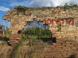 We drove out of Petatan along a newly paved road, past this wall with scenic openings, and a bit further into Michoacan.