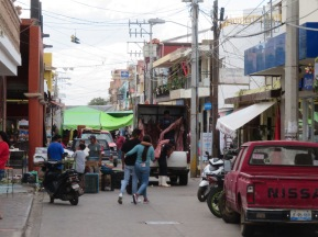 and found this weekly market going on in the street near the church.