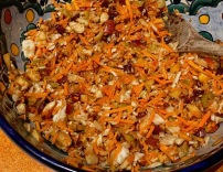 Cabbage/Carrot chopped salad with almonds, dried cranberries, celery, apples ,green olives and balsamic/blue cheese dressing. Sound awful? It's delicious.