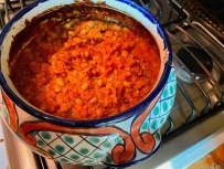 I again lunched on baked beans from the bean pot from Hell. Every time I take a bite, two bites grow back. I was reduced to making my own pork and beans from scratch and no matter how many ingredients I add, they don't taste like those of my mom, who started out with Van Camp's canned pork and beans and then added her own magic ingredients. With no pork and beans available in any store in town, I started out with dry white beans and added ketchup, mustard, cider vinegar, bacon, onions, barbecue sauce, Worchestershire sauce and brown sugar--but they don't taste like Mom's.