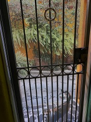 Luckily, there is an additional barred screen door installed outside the main door, so at least we had security.