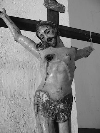 Painted wood church sculpture, Michoacan